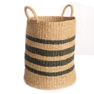 Seagrass Black Striped Basket with Handles